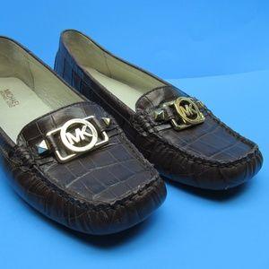 Michael Kors Croc Brown Moc Toe Loafers Size 9 M